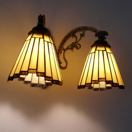 Victorian Stained Glass Wall Light Lamp Hardwired Sconce