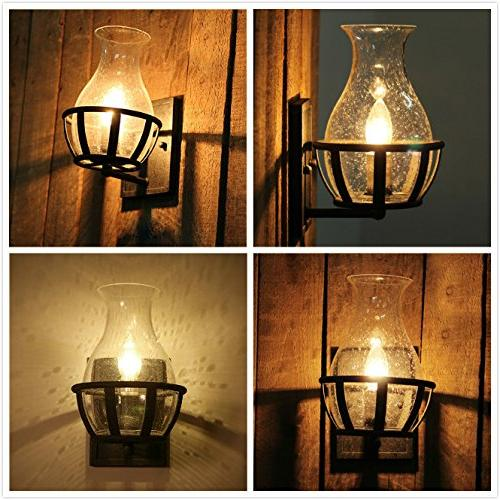 Ladiqi Vintage Country Style Candle Design Wall Sconce Lighting Wall Lamp Light Fixture With Unique Seedy Glass Shade Indoor Outdoor Tools Home Improvement Lighting Ceiling Fans