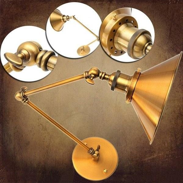 vintage e27 swing arm brass wall lamp