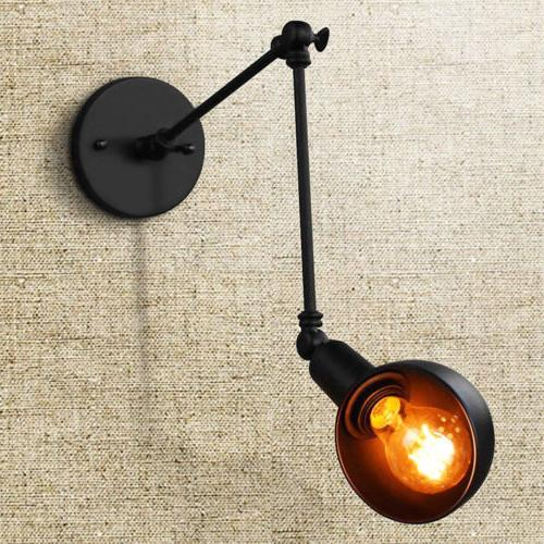 Retro Vintage Wall Lamp Adjustable Long Swing Arm Rustic Lig