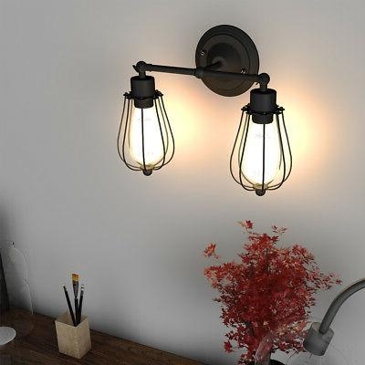 Vintage Industrial Wall Sconce Wire Caged Bulb