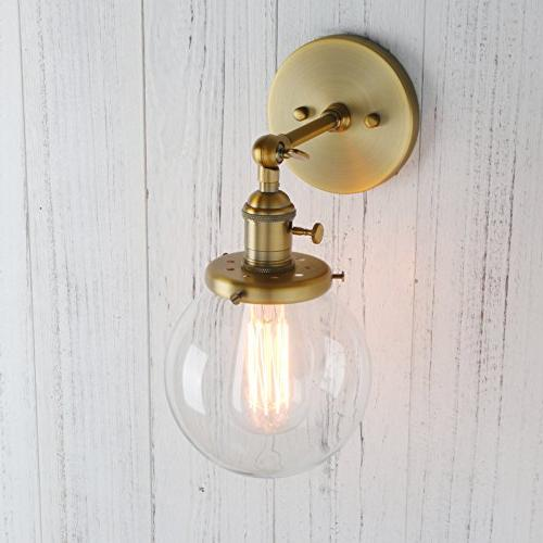 Permo Industrial Sconce Lighting Mini Round Glass Shade