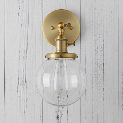 "Permo Vintage Industrial Sconce Lighting Fixture Mini 5.9"" Round Glass Hand Shade"