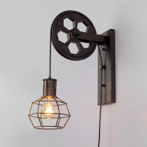 Industrial Lamp Sconce Gear Lift Adjustable Pulley Aisle Wall