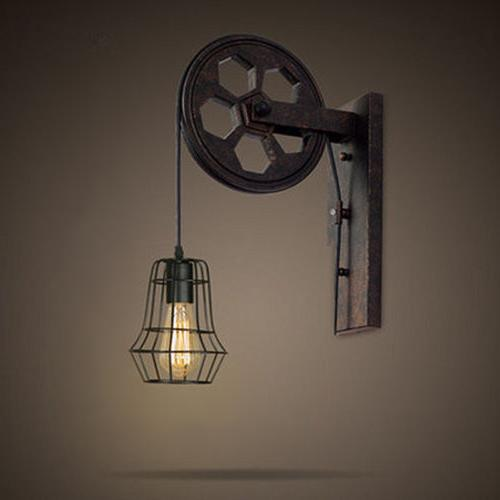 Industrial Sconce Adjustable Pulley Wall Lights