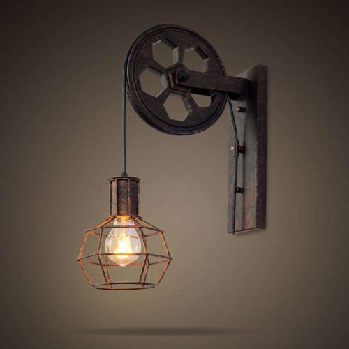 Industrial Rustic Wall Lamp Sconce Gear Lift Adjustable Pull