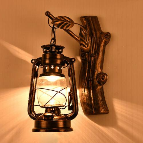 Aged Style Lantern Wall Sconce Glass Shade Bronze Finished W