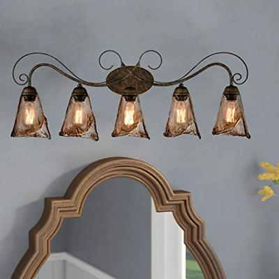 CLAXY Vintage Rustic Vanity Lights Amber Glass Wall Sconces-