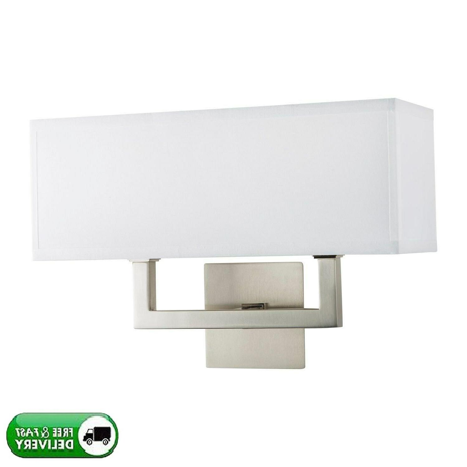 wall sconce 2 light brushed nickel white