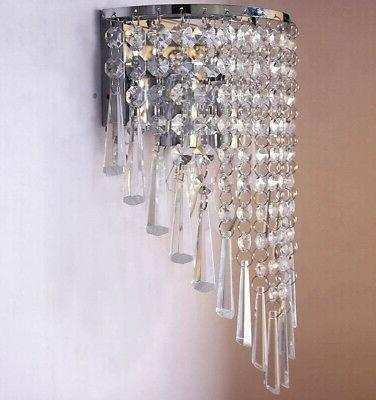 Wall Sconce Pair Fixture Modern Crystal Indoor