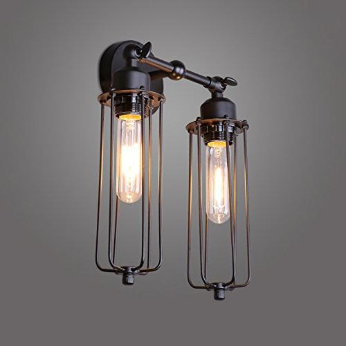 Lightess Wall Vintage Industrial Black Lamp Fixture With