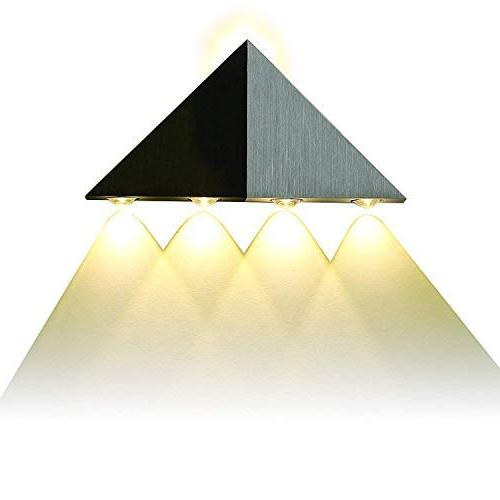 Lightess Up Down Sconce Lights 5W Led Wall Lamp Triangle Shape Bathroom Home Theater, White