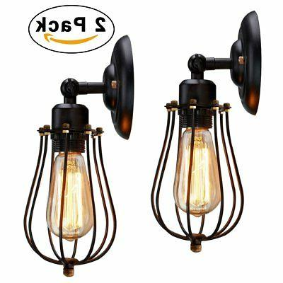 wire cage wall sconce 2 pack industrial