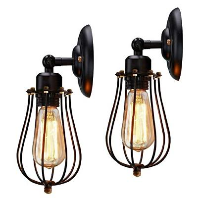 Retro Wire Cage Wall Sconce Black Hardwire Industrial Wall L