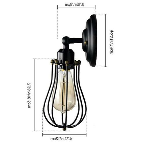 Wire Cage Dimmable Black Wall Light 2 Pack