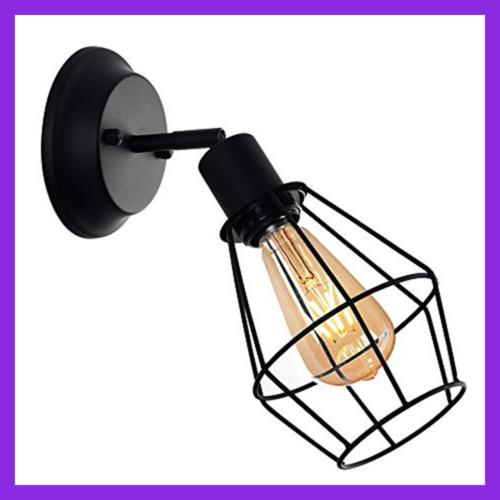 Wire Cage Dimmable Metal Hardwire Light Vintage Sty