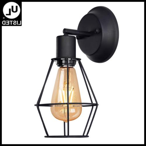 wire cage wall sconce dimmable metal hardwire