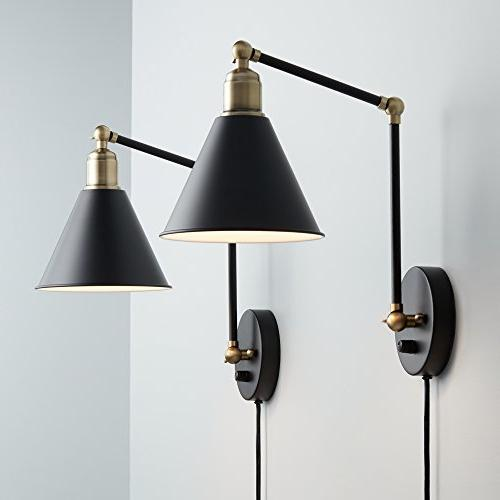 Wray Black Antique Brass Wall Lamp Set of 2
