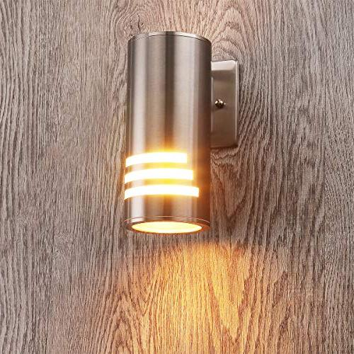 Cerdeco WS-8112 Modern Light Satin Nickel Outdoor Wall Cylinder Wall for