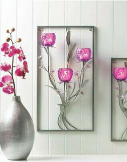 large Magenta PURPLE SILVER modern art wall sconce Votive fl