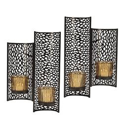 Mikasa Laser Cut Wall Sconces, Set of 2, Brown