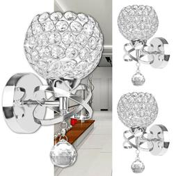 LED Modern Crystal Wall Lamp Sconce Light Bulb Bedroom Hallw