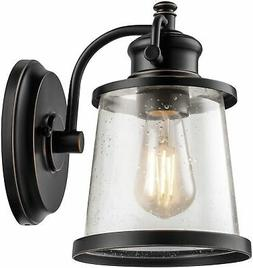 LED Wall Sconce Fixture 1 Light Indoor Outdoor w/ Glass Shad