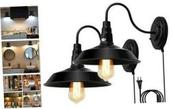 LIGHTESS Plug in Wall Sconces Black, Gooseneck Lighting Indu