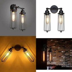 Lightess Wall Sconce Light Vintage Industrial Mini Cage Blac