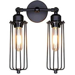 Lightess Wall Sconce Vintage Industrial Mini Cage Black Lamp