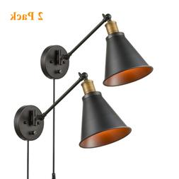CLAXY Lighting Industrial Swing Arm Wall Sconce Plug-in Wall