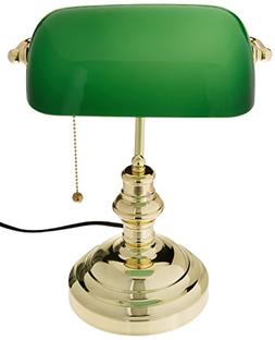 Lite Source LS-224PB Banker's Lamp, Polished Brass with Gree