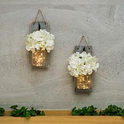 Mason Jar Sconce Wall Art Home Decor Lighted Rustic Country