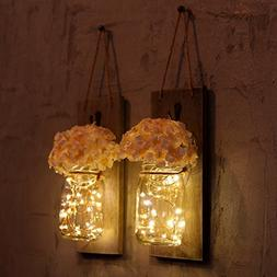 HOMKO Mason Jar Sconce with LED Fairy Lights and Flowers - R