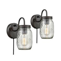 Mason Jar Plug-In Wall Sconces with On Off Switch Set of 2 G