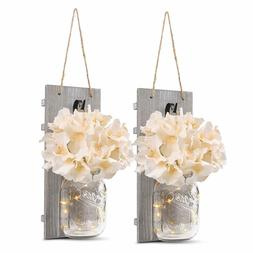 mason jar wall sconce fairy lights hanging