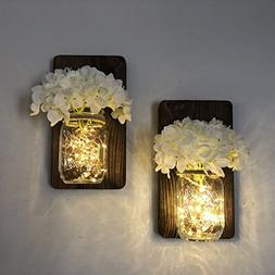 Mason Jar Wall Sconce Set of Two Complete with LED Fairy Lig