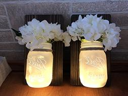 Mason Jar Wall Sconce Set of Two with White Distressed Jars,