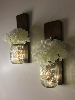 Mason Jar Wall Sconce Set of Two, Choice of Lights and Flowe