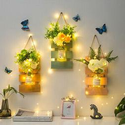 Mason Jar Wall Sconces with LED Fairy Lights and Flowers for