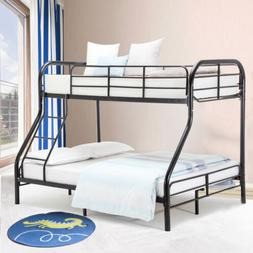 Twin Over Full Bunk Bed Frame w/ Ladder Metal Adult Kid Teen