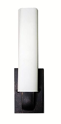 Modern Rubbed Bronze Cylinder Wall Sconce With White Glass S
