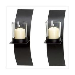 Modern Art Candle Holder Wall Sconce Plaque Set of Two New