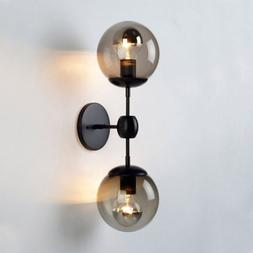 modern globe wall sconce double arms glass