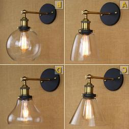 Modern Industrial Antique Brass Arm Wall Sconce Light  Glass
