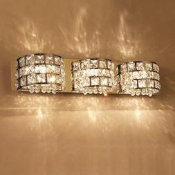 Modern Rectangular Stainless Steel LED Wall Sconce Crystal L