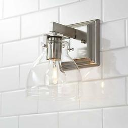 """Modern Wall Light Sconce Brushed Nickel 9 1/2"""" Fixture Bedro"""