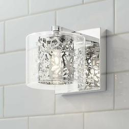 "Modern Wall Light Sconce LED Chrome 5 1/4"" Fixture Crystal f"