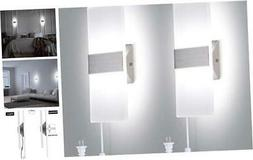 Modern Wall Sconces Set of Two, Plug in Wall Sconces 12W 600