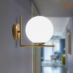 Modern White Globe Glass Lamp Shade LED Single Light Indoor